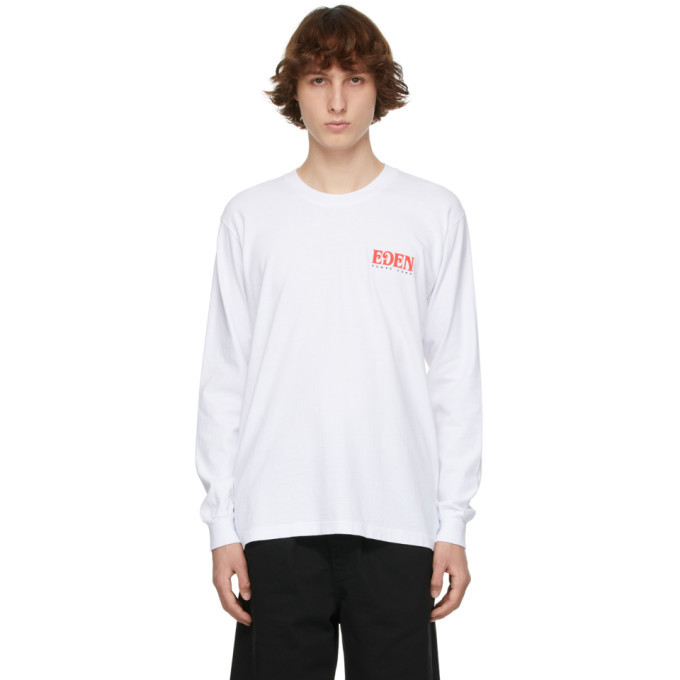 EDEN power corp White and Red Recycled Cotton Logo Long Sleeve T-Shirt