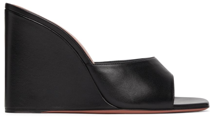 Photo: Amina Muaddi Black Lupita Wedge Heeled Sandals