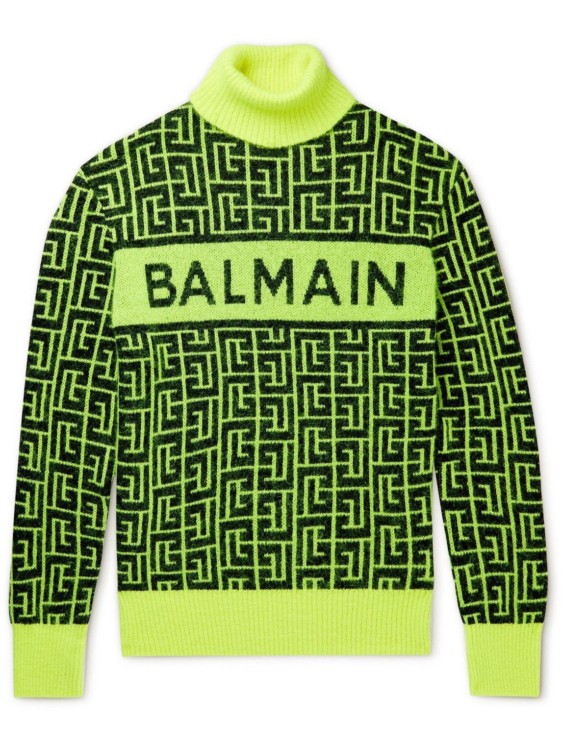 Photo: Balmain - Logo-Intarsia Wool-Blend Rollneck Sweater - Yellow