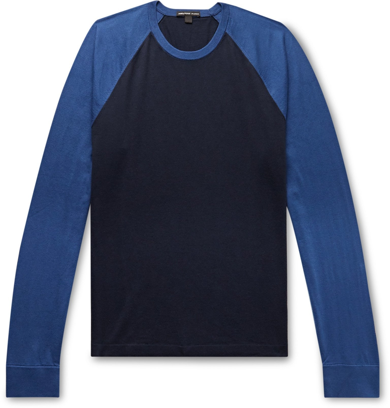 Photo: James Perse - Colour-Block Cotton-Jersey T-Shirt - Blue