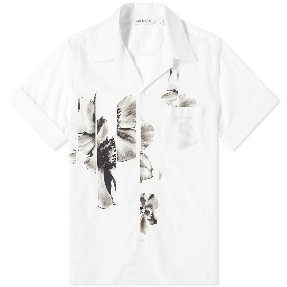 Photo: Neil Barrett Floral Vacation Shirt White & Grey