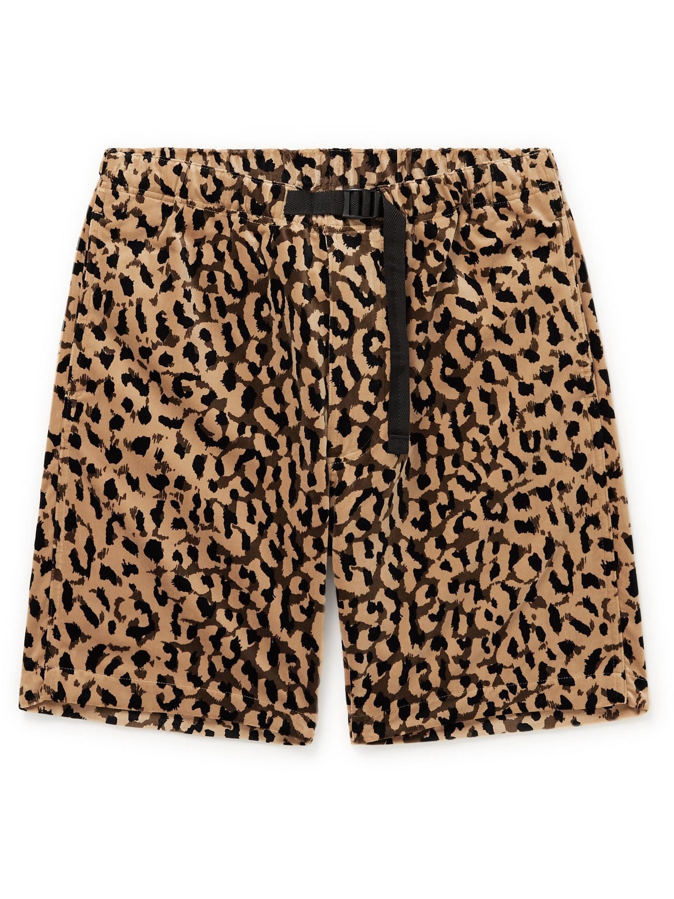 Photo: Wacko Maria - Belted Leopard-Print Cotton-Velour Shorts - Brown
