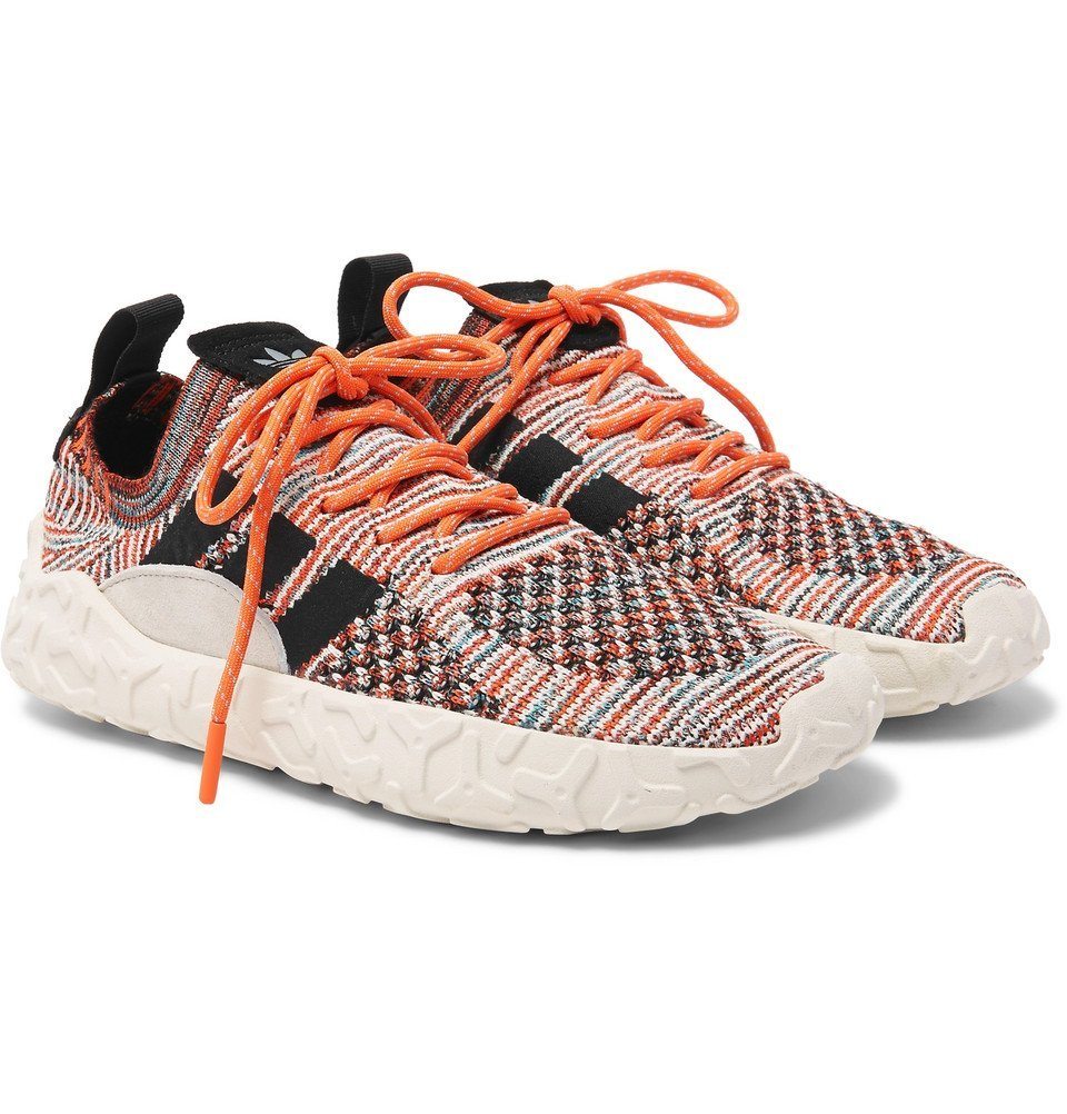 adidas Originals - F/22 Suede-Trimmed Primeknit Sneakers - Men - Orange