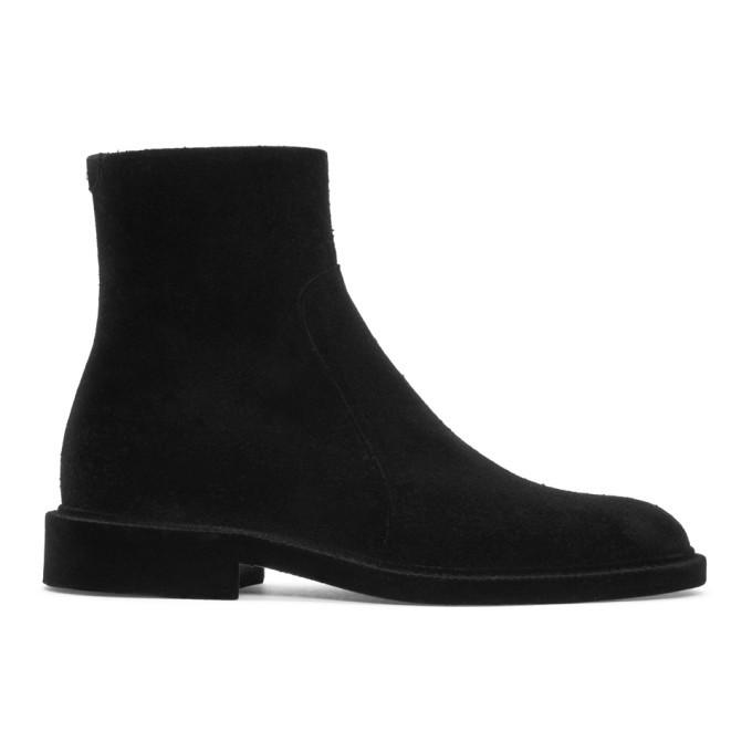 Photo: Maison Margiela Black Flock Treatment Ankle Boots