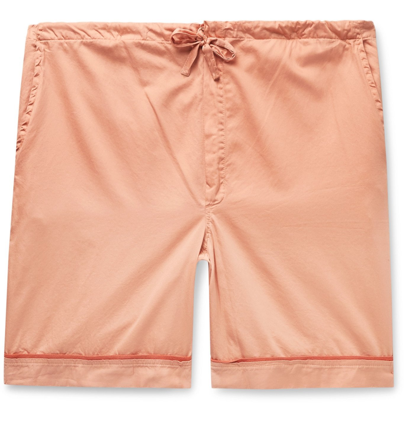 Photo: Cleverly Laundry - Piped Garment-Dyed Washed-Cotton Pyjama Shorts - Orange