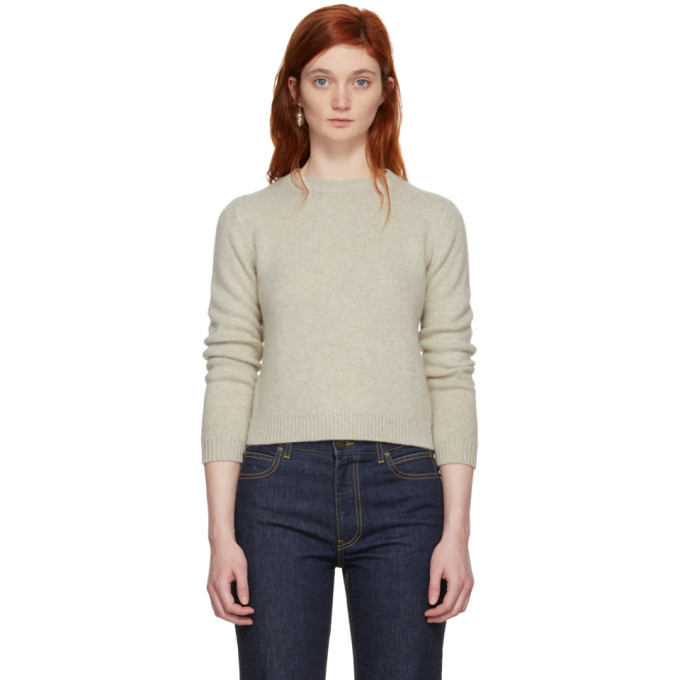 Photo: The Elder Statesman Off-White Cashmere Simple Cropped Crewneck Sweater