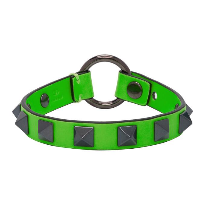 Photo: Valentino Green Valentino Garavani Leather Rockstud Bracelet