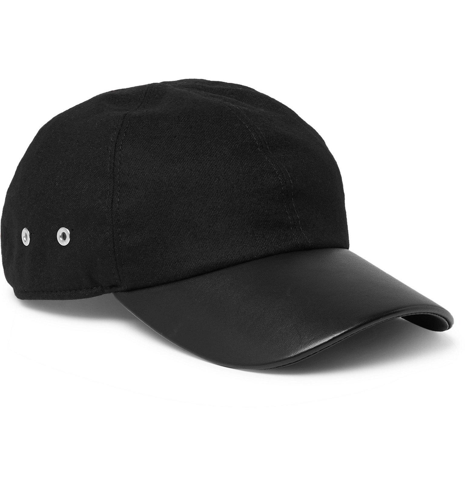 Photo: 1017 ALYX 9SM - Stretch-Wool Twill and Leather Baseball Cap - Black