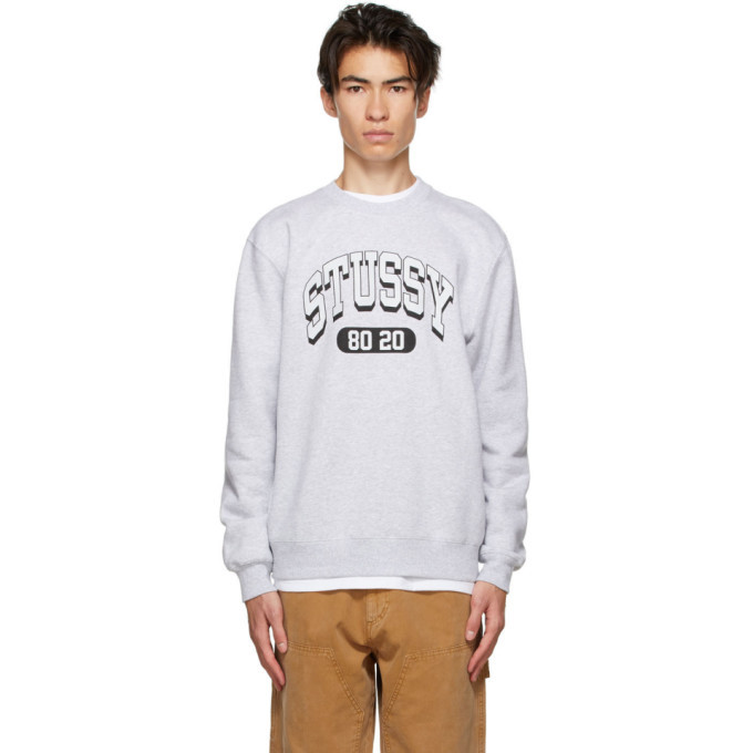 Photo: Stussy Grey 80-20 Crew Sweatshirt