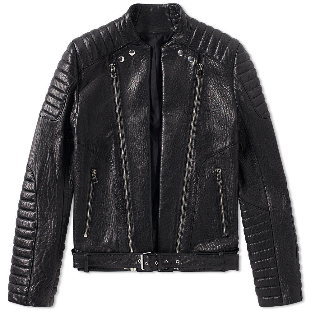 Photo: Balmain Leather Moto Biker Jacket