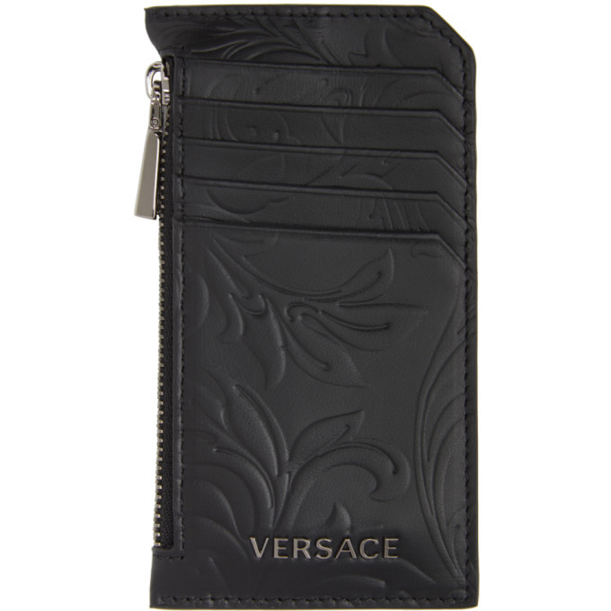 Photo: Versace Black Embossed Barocco Card Holder