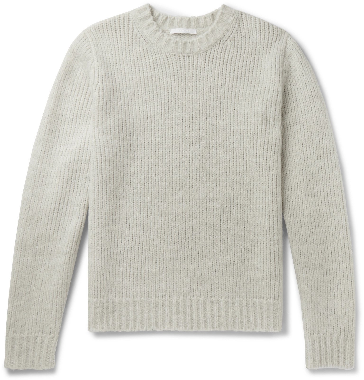 Photo: Helmut Lang - Ribbed Mélange Knitted Sweater - Gray
