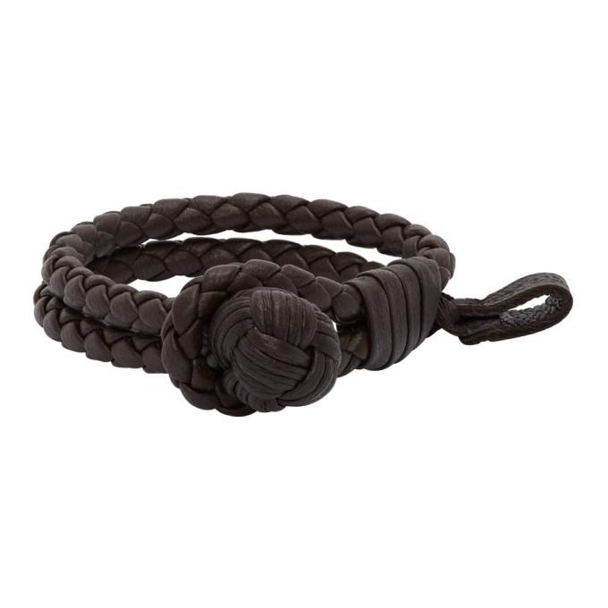 Photo: Bottega Veneta Black Braided Leather Bracelet