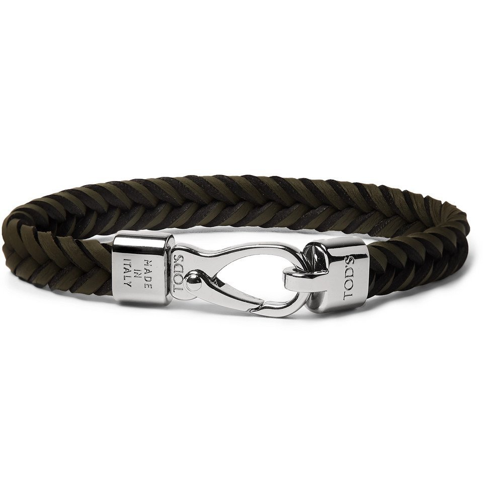 Tod's - Woven Leather and Silver-Tone Bracelet - Army green