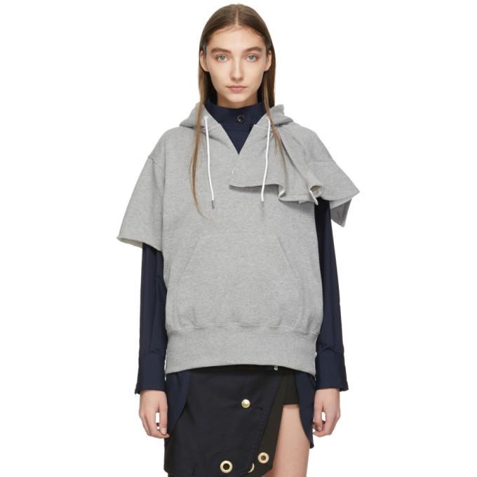 Sacai Grey Short Sleeve Hoodie