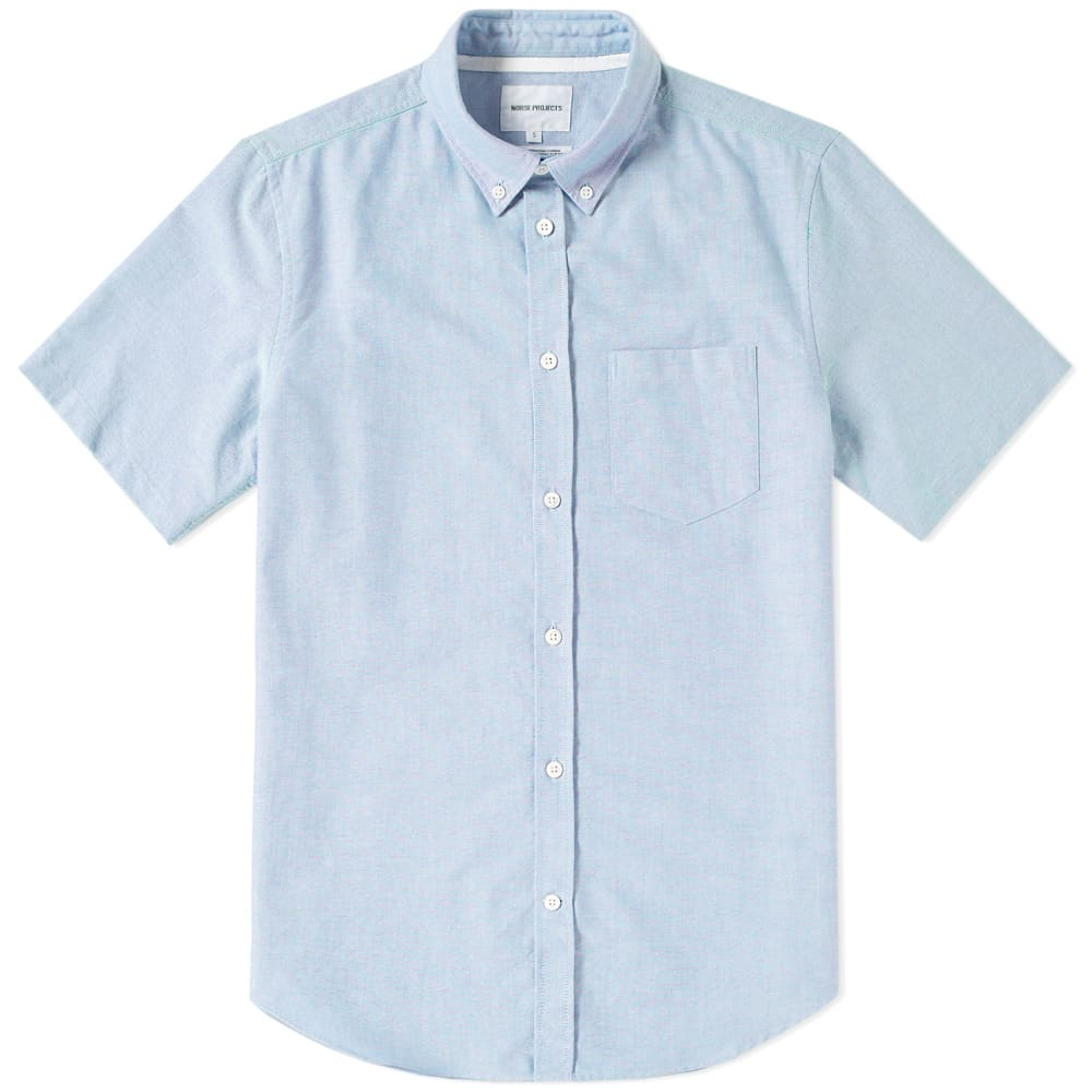 Photo: Norse Projects Short Sleeve Theo Oxford Shirt Blue