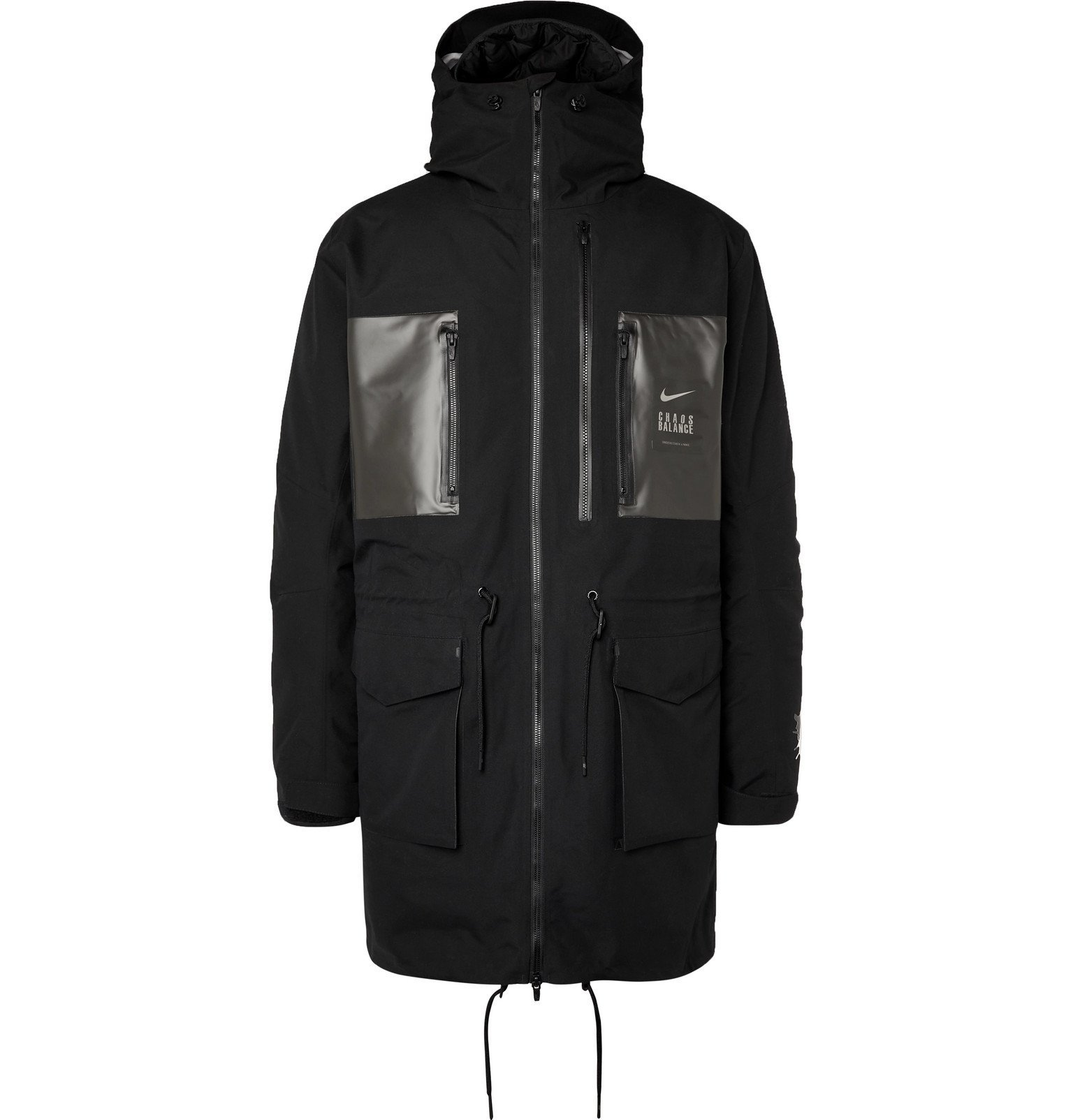 Photo: Nike - Undercover Logo-Print Coated-Twill Parka With Detachable Quilted Down Liner - Black