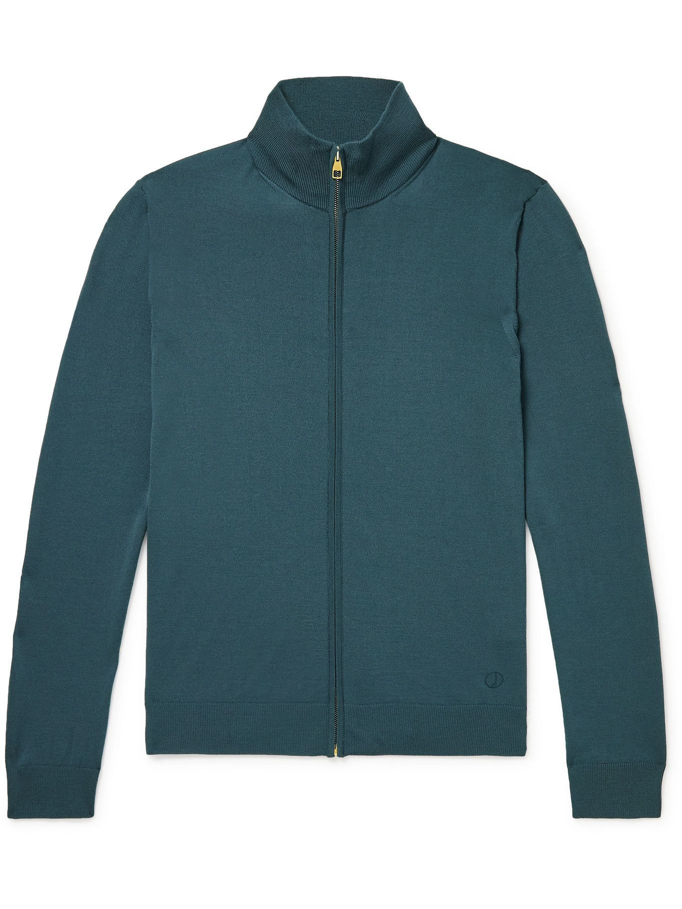 DUNHILL - Logo-Embroidered Merino Wool Zip-Up Sweater - Blue