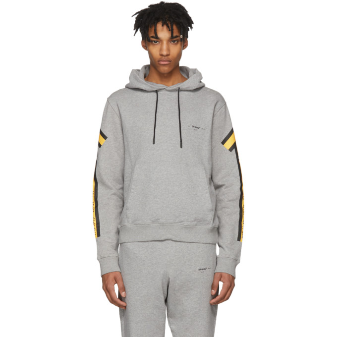 Photo: Off-White Grey and Yellow Arrows Hoodie