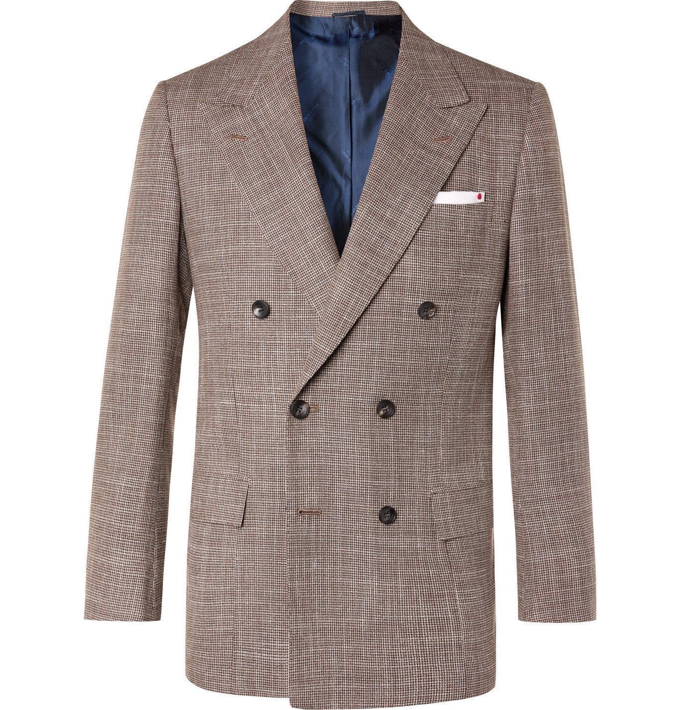 Photo: Kiton - Slim-Fit Double-Breasted Puppytooth Cashmere, Virgin Wool, Silk and Linen-Blend Suit Jacket - Brown