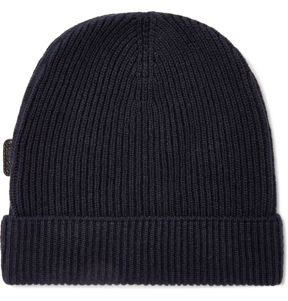 Photo: TOM FORD - Ribbed Cashmere Beanie - Blue