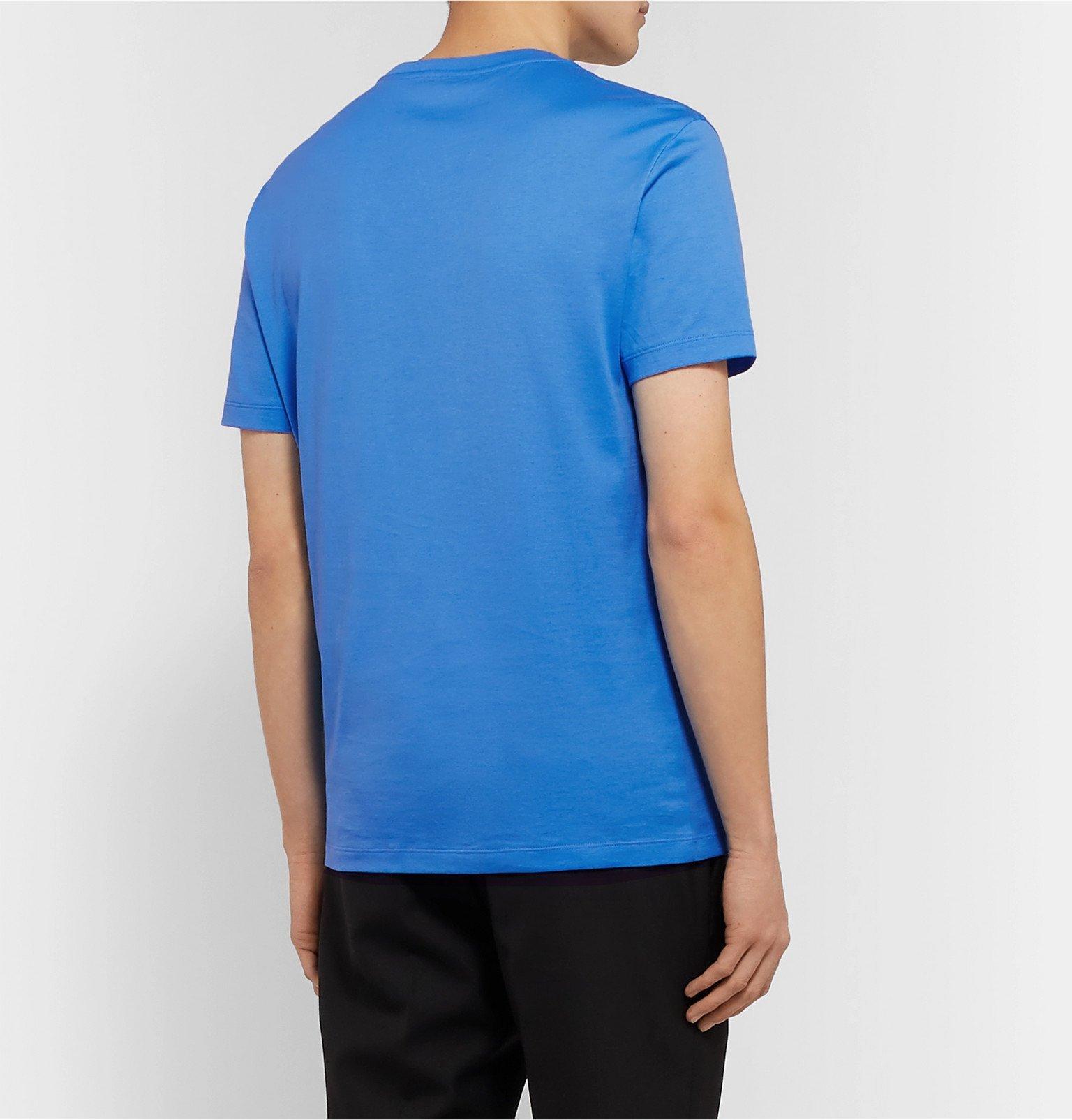 Versace - Printed Cotton-Jersey T-Shirt - Blue