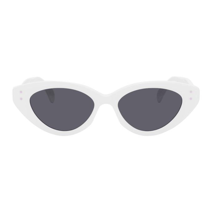 Photo: ALAIA White Slim Cat Eye Sunglasses