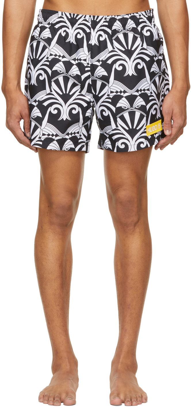Photo: Hugo Black & White Graphic Swim Trunks