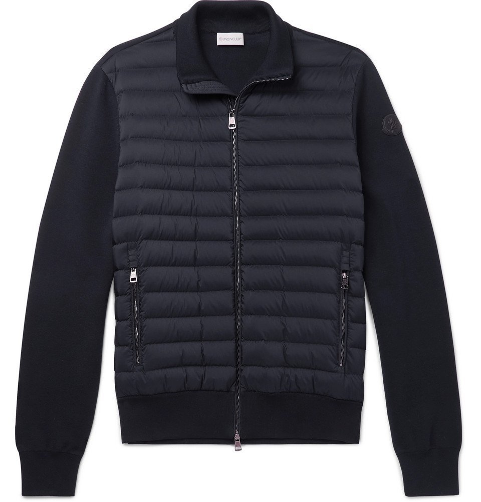 Photo: Moncler - Slim-Fit Panelled Cotton-Blend Jersey and Quilted Shell Down Zip-Up Sweater - Navy