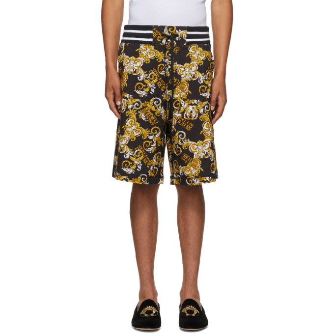 Photo: Versace Jeans Couture Black and Gold Barocco Shorts