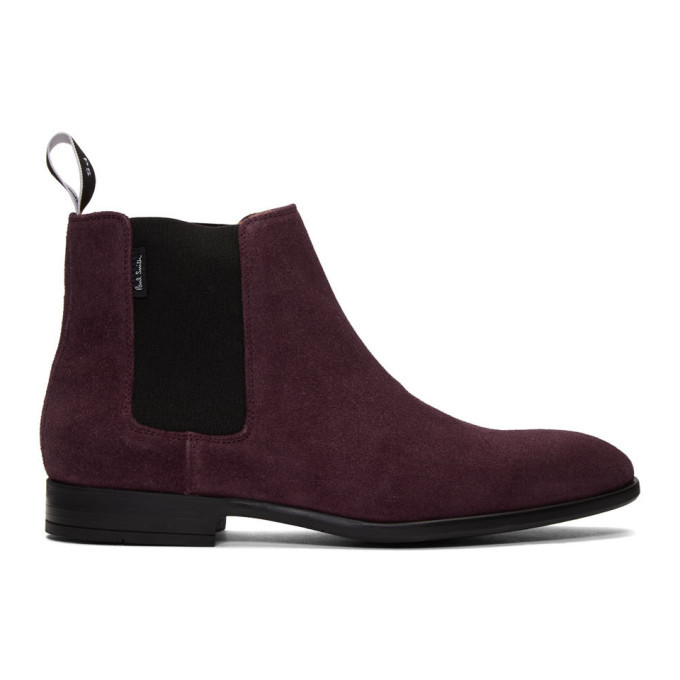 Photo: PS by Paul Smith Burgundy Suede Gerald Chelsea Boots