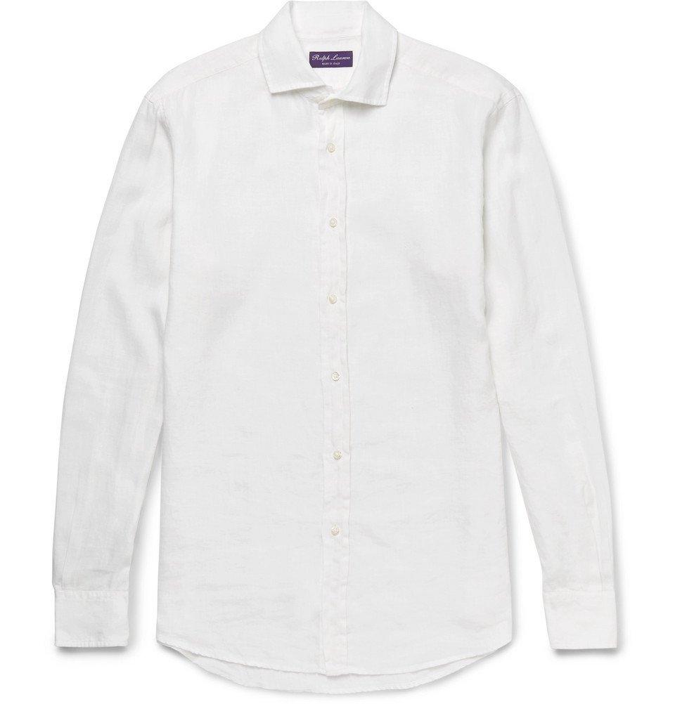 Photo: Ralph Lauren Purple Label - Aston Cutaway-Collar Slub Linen Shirt - White