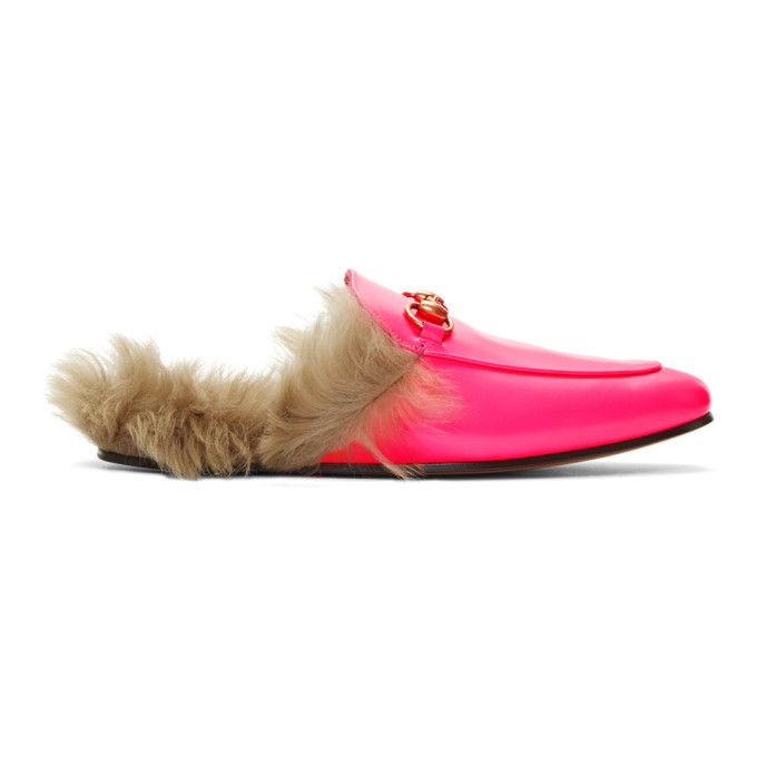 Photo: Gucci Pink Fluorescent Princetown Loafers
