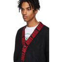 Aries Black Mohair Logo Cardigan