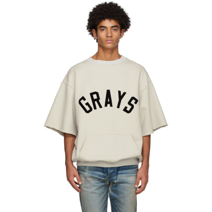 Photo: Fear of God Beige Fleece Graphic Short Sleeve Sweatshirt