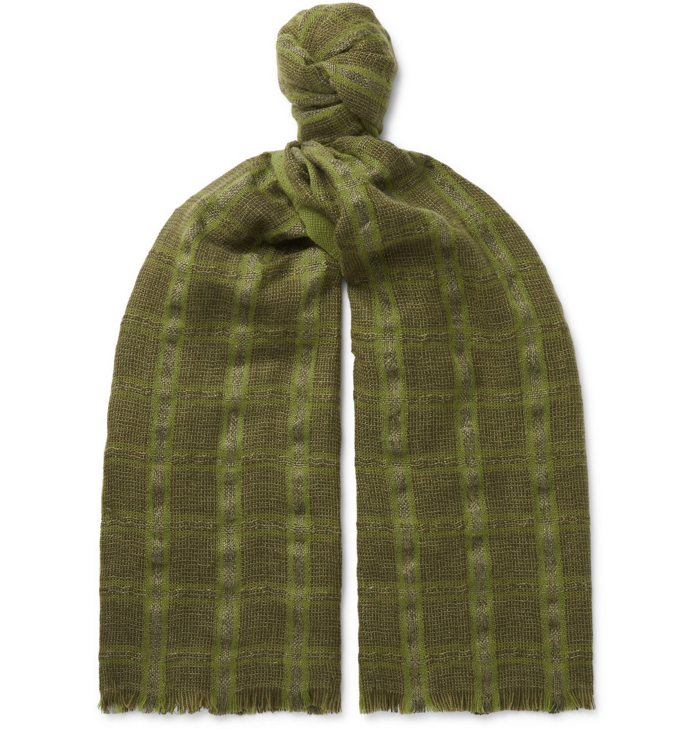 Photo: Loro Piana - Checked Linen and Cashmere-Blend Tweed Scarf - Green