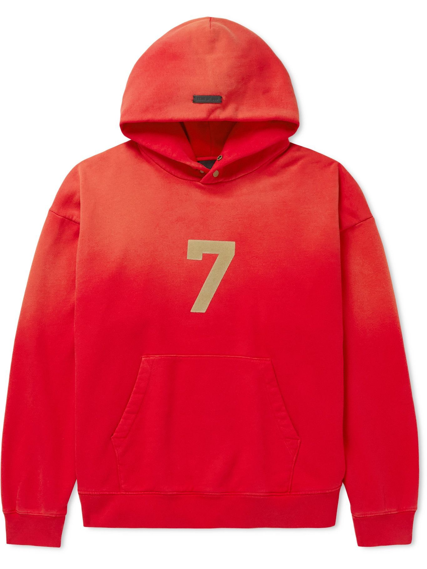 Photo: Fear of God - Logo-Flocked Cotton Jersey Hoodie - Red