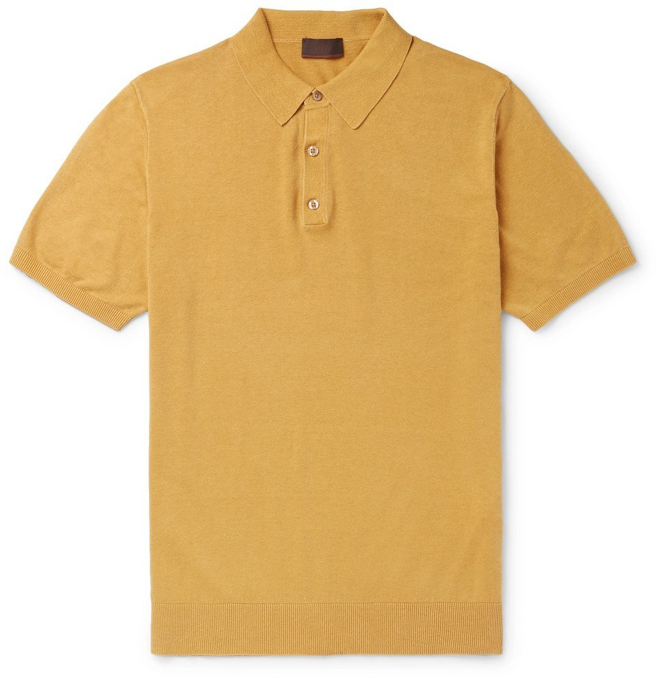 Photo: Altea - Knitted Linen and Cotton-Blend Polo Shirt - Mustard