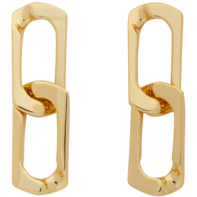 Photo: Numbering Gold Double Chain Link Earrings