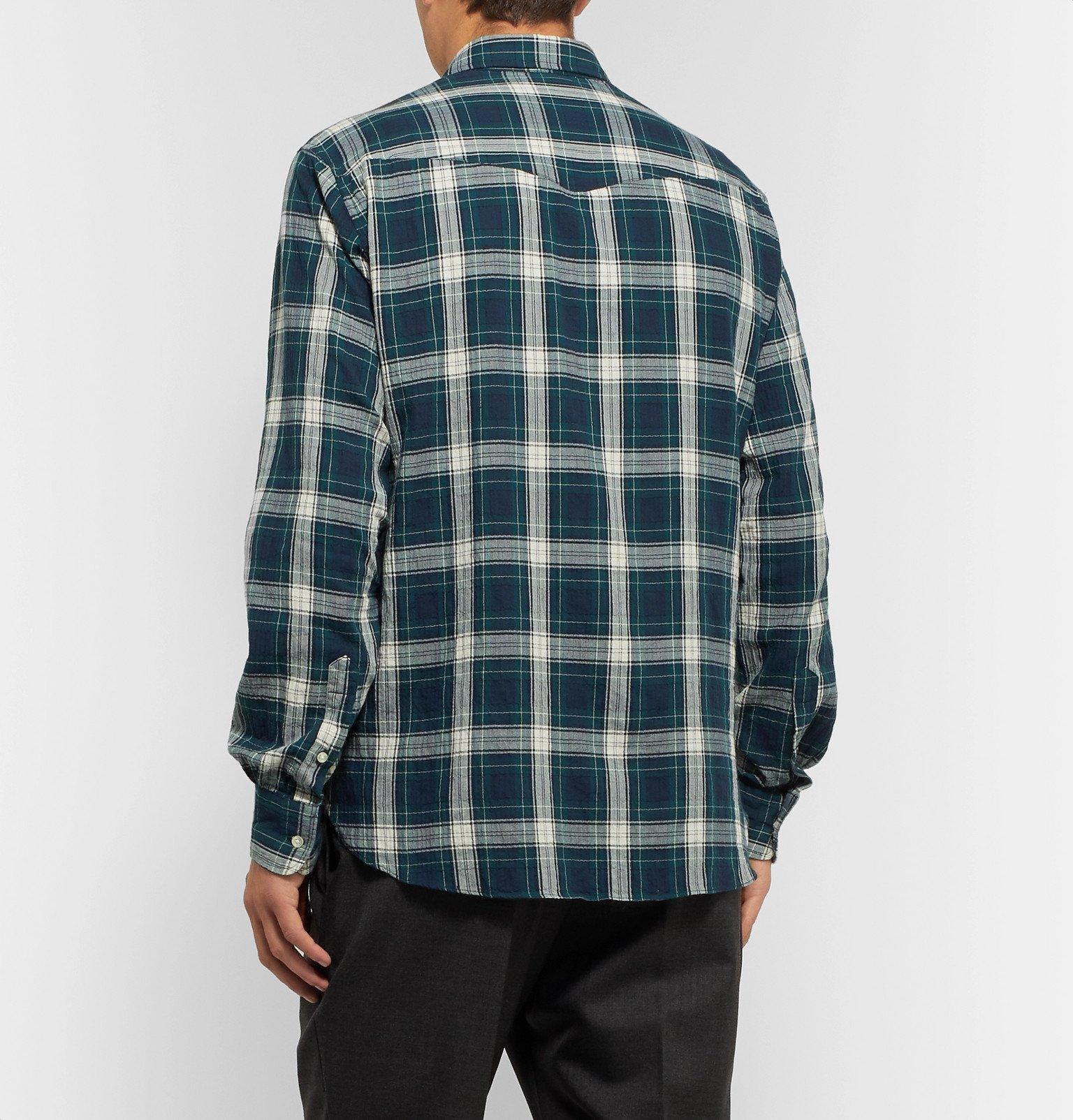 Officine Generale - Button-Down Collar Checked Cotton Shirt - Green