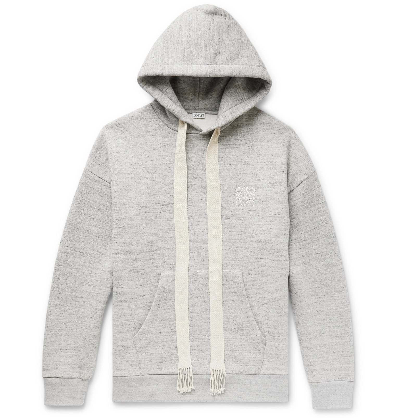 Photo: Loewe - Oversized Logo-Embroidered Mélange Fleece-Back Cotton-Jersey Hoodie - Gray