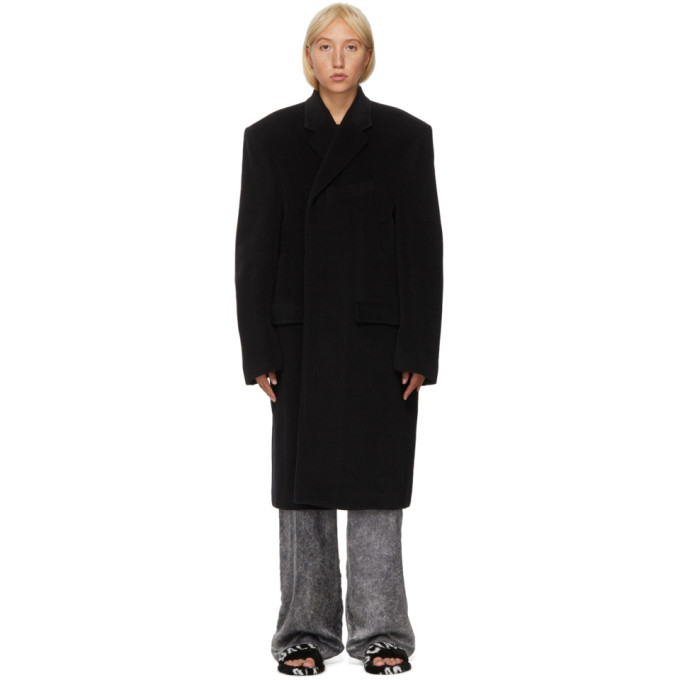 Photo: Balenciaga Black Alpaca and Wool Side Coat
