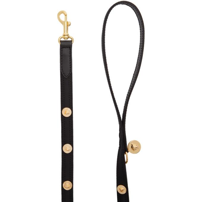 Versace Black Studded Medusa Harness and Leash Set