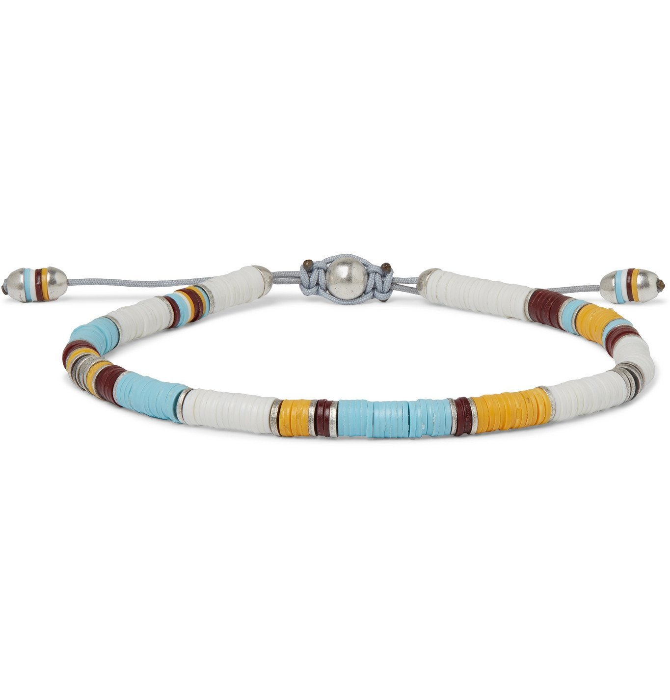 Photo: M.Cohen - Sterling Silver and Cord Beaded Bracelet - Blue