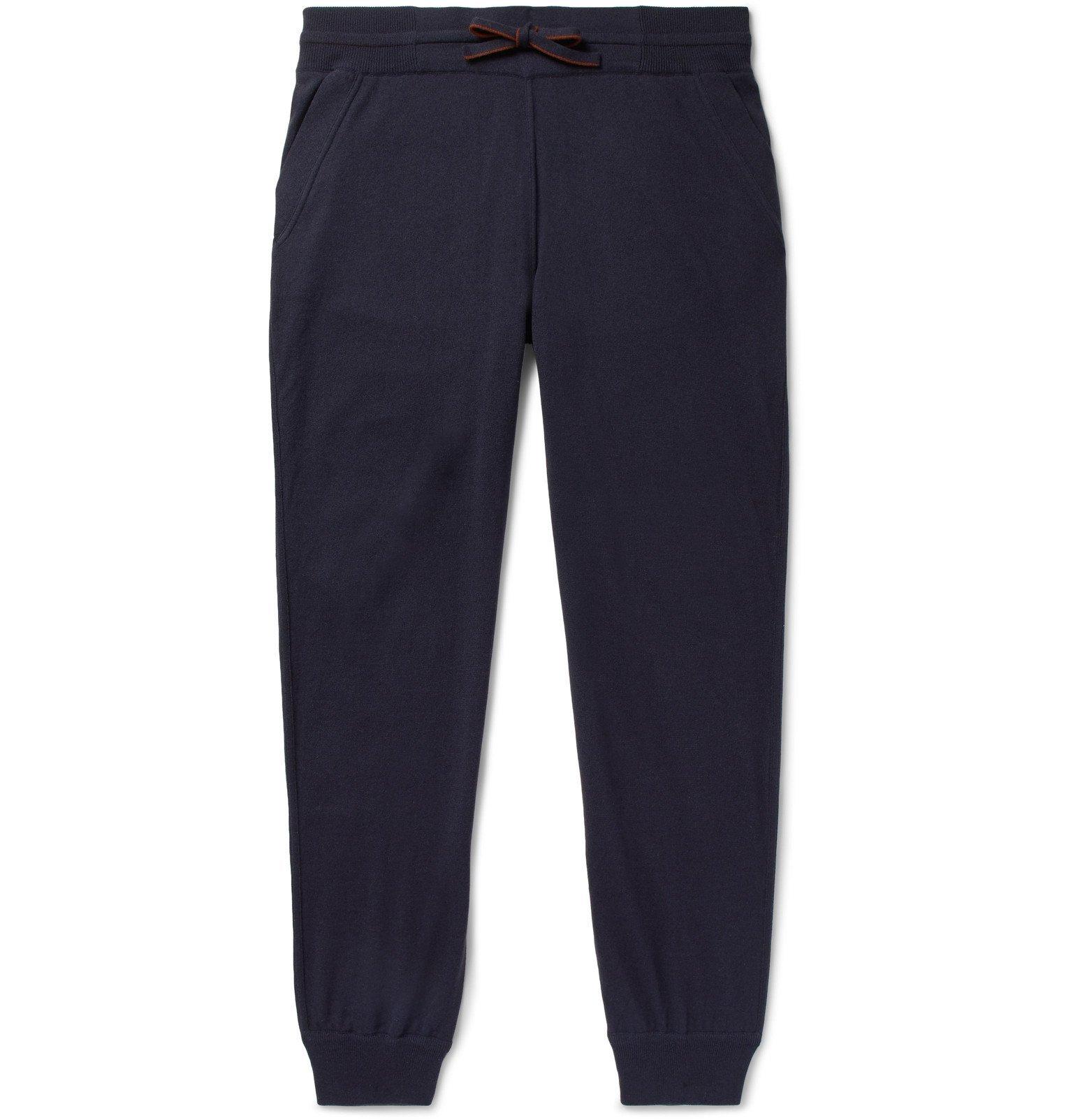 Photo: Loro Piana - Portland Tapered Mélange Cashmere and Silk-Blend Sweatpants - Blue