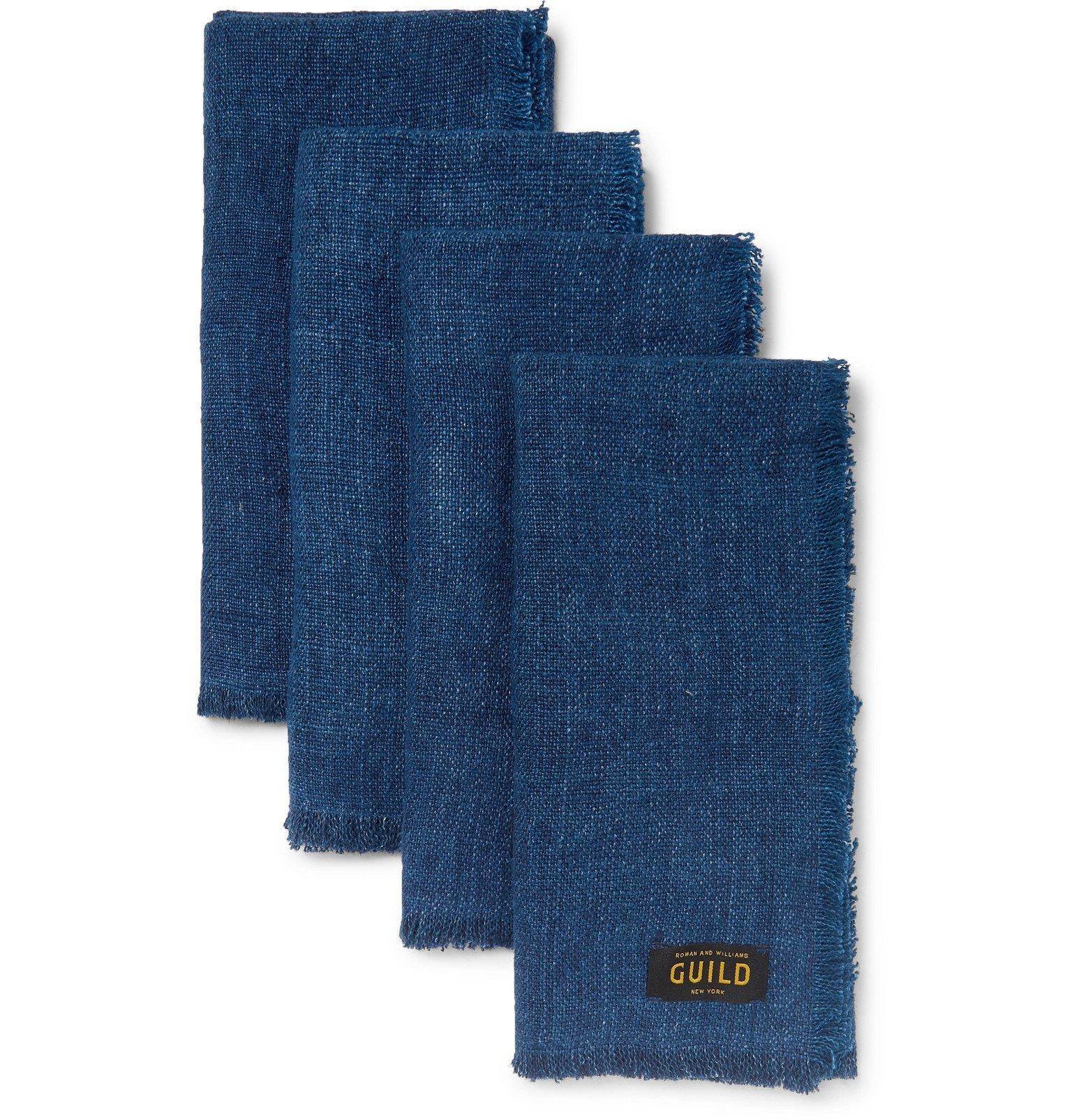 Photo: Roman & Williams Guild - Set of Four Linen Napkins - Blue