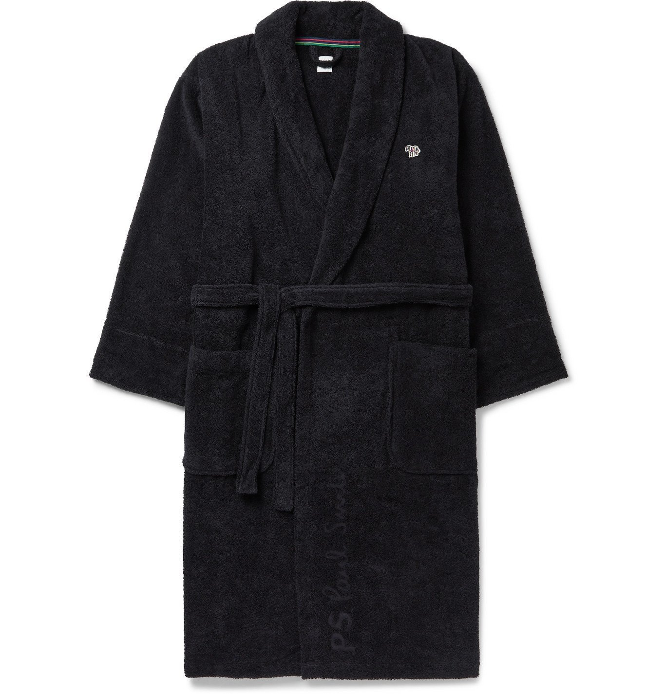 Photo: Paul Smith - Belted Appliquéd Cotton-Terry Robe - Black
