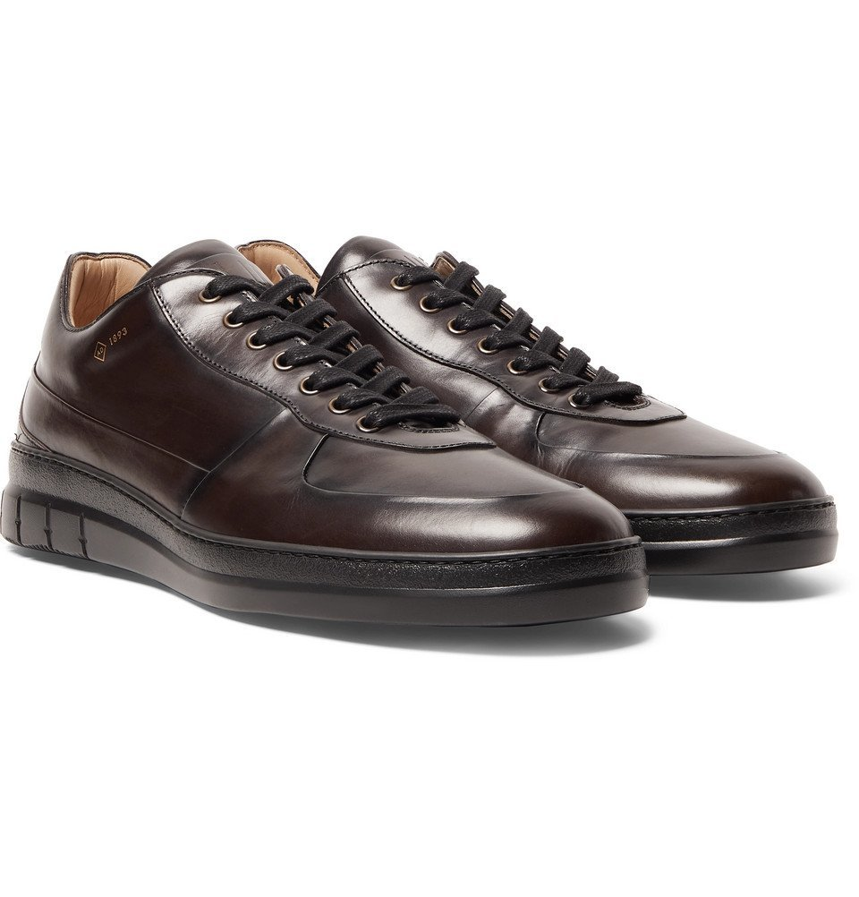 Dunhill - Duke Polished-Leather Sneakers - Dark brown