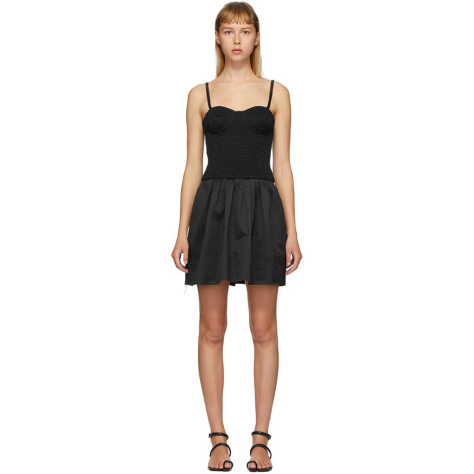 Photo: Marina Moscone Black Smocked Bustier Tunic Dress