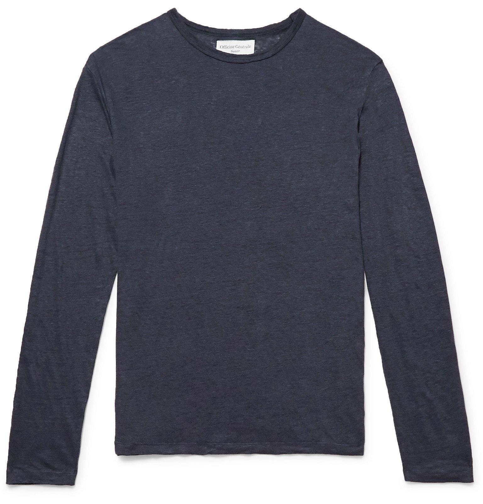 Photo: Officine Generale - Garment-Dyed Linen T-Shirt - Blue